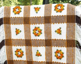 Vintage Wool Table Cloth Swedish Scandinavian Woven Embroidered Yellow Brown Checked Floral Table Decor #3-36
