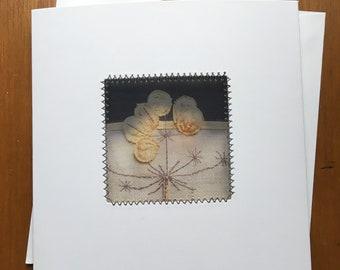 Cow parsley greeting card | seed head greeting card | handmade card | blank greeting card | from original textile art