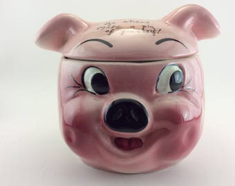 "Pig Cookie Jar ""Go Ahead Make a Pig of Yourself"" Cookie Jar Pig's Head Cookie Jar Deforest of California Goodie Jar Hand Painted Made in USA"