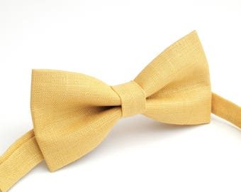 Yellow  color   linen bow tie, wedding necktie, linen necktie,  groomsmen necktie,  neckt, bow tie for men