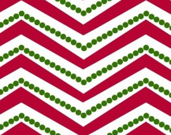 Christmas Zig Zag fabric in Red, White and Green