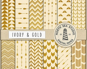 Ivory And Gold Digital Paper Pack | Scrapbook Paper | Printable Backgrounds | 12 JPG, 300dpi Files | BUY5FOR8