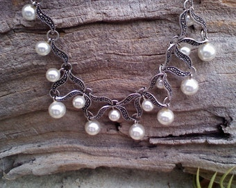 Genuine Marcasite/Pearl choker necklace