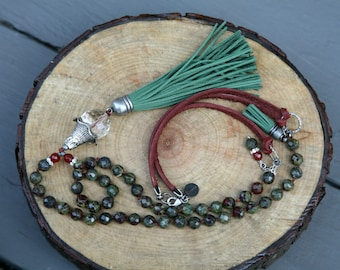 Green and Burgundy Tassel Necklace,  Green Tassel Necklace, Bohemian Necklace, Knotted Leather Corded Necklace