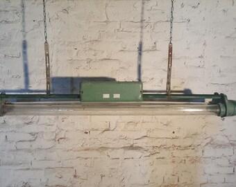 Industrial Vintage fluorescent tube loft light retro lamp grid cage factory