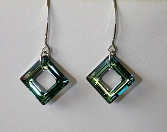 Karen  -  Crystal frame earrings in greens and blues