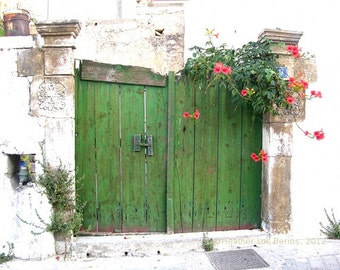 Greece Photography - Green Doors - Crete - Wall Decor - Art Print
