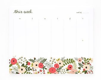 Weekly Planner Notepad, Illustrated Weekly Desk Notepad, Mousepad Planner Notepad | Blooming Wreath