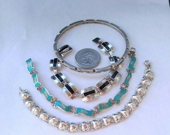 Lot of 4 vintage sterling silver bracelets