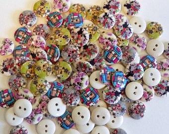 20 Mixed Flower Buttons - #WS-00008