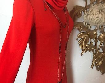1970s dress vintage dress orange dress maxi dress size medium turtleneck dress disco dress cowl neck dress slinky dress long sleeve dress