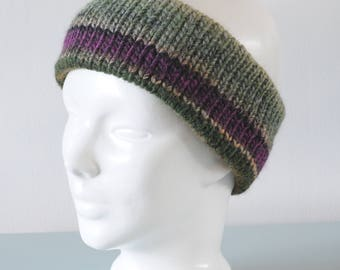 Green Knitted Headband - Purple Grey Ear Warmer Chunky Merino Wool Acrylic Unisex Winter Accessory Gift for Him or Her by Emma Dickie Design
