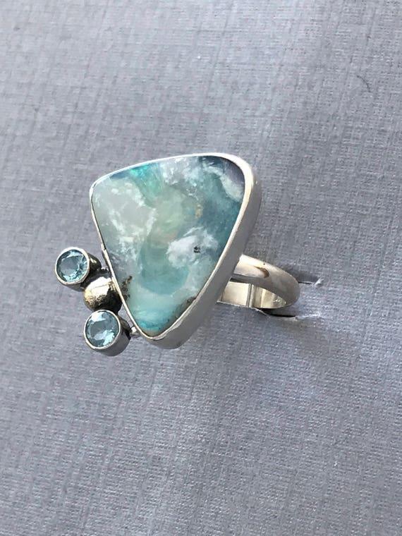Yummy blues! Australian boulder opal and topaz ring