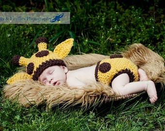 Baby Giraffe Hat and Diaper Cover Matching Set--Perfect Crochet Newborn Photo Prop  or Halloween Costume