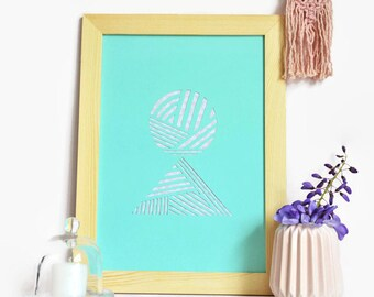 Displays graph-A4-paper cut main-Design-Bleu-Triangles-Rond-Paper cut