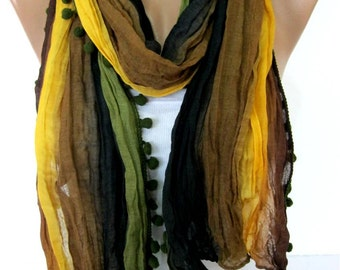 Multicolor Scarf -- Shawl Scarf -   Cowl Scarf-Pompom Scarf-gift Ideas For Her Women's Scarves- for her -Fashion accessories
