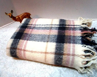 Vintage Plaid Wool Stadium Blanket, Beige + Gray, Cabin Lodge Ranch, Football Game Picnic Lap Robe, Classic Warmth Car Blanket Tailgate