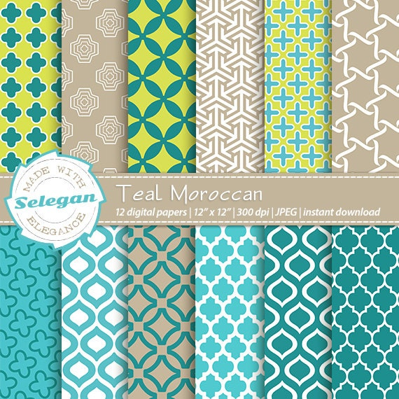 Teal Moroccan Digital Paper Scrapbooking Paper 12x12