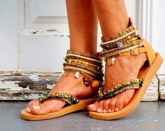 "Leather Boho Sandals, ""Africa"",  Leather sandals, brown summer sandals, Greek Sandals, Handmade Sandals, , hippie sandals,Made with love"