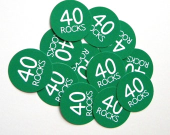 40th Birthday Stickers - Round 1 1/2 Inch Handmade Stickers, 40 Rocks, Green, Set of 12