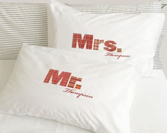 Mr and Mrs Pillowcase Set for Couples in Red