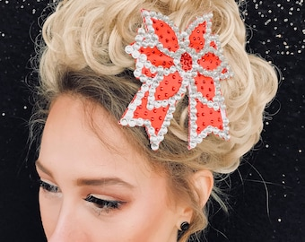 A set of embroidered Bows with rhinestones