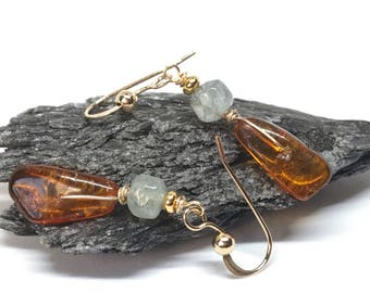 Baltic Amber and Aquamarine Earrings with 14K Gold Filled Wire, March Birthstone, Dangle and Drop Earrings, Blue and Orange, Crystal Earring