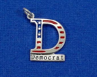 Democrat Charm - Sterling Silver Democrat Charm for Necklace or Bracelet