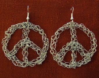 Peace sign silver crochet hoop earrings