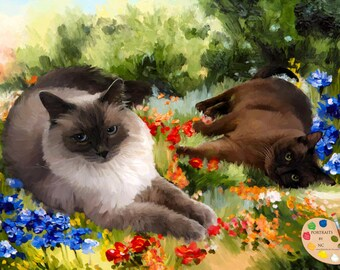 Cat Painting - Cat Portraits - Cat Painting from your Photo - Portraits by NC