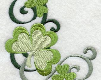 Filigree Shamrocks Accent Embroidered Flour Sack Hand Towel