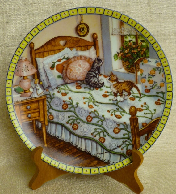 """HANNAH HOLLISTER INGMIRE  """"A Sunny Spot"""" Third Issue """"Cozy Country Corners"""" Limited Edition Edwin M. Knowles Fine China"""