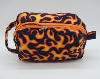 Racing Travel Pouch, Flame Ditty Bag,  Flames Shave Kit, Toiletry Bag, Groomsman Gifts, Gifts for Him, Dopp Kit, Go Bag, Car Racing Gifts