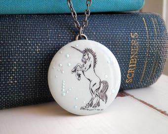 Bohemian Unicorn Necklace - Cosmic Stars Boho Space Art Jewelry - Vintage Unicorn Outline Animal Jewelry Gift Celestial Star Wanderlust Art