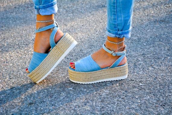 genuine sandals sandals Denim sandals wedge denim Flatform Sandals Espadrille flatform greek sandals leather espadrille U010TWBn