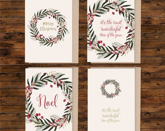 A6 christmas card set, set of A6 greeting card, illustrated christmas card, blank christmas card, card and envelope