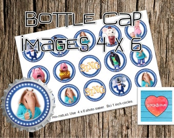 "Sing printables  4x6 - 1"" circles, bottle cap images, stickers"
