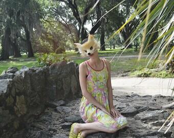 Golden Jackal Faux Fur Mask, handmade