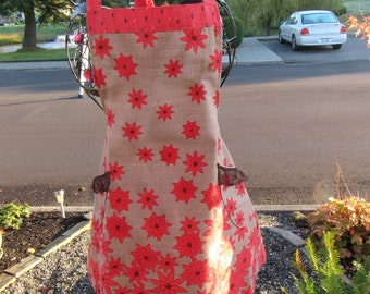 Pretty Red-Pink Cascading Flowers on Flare Apron