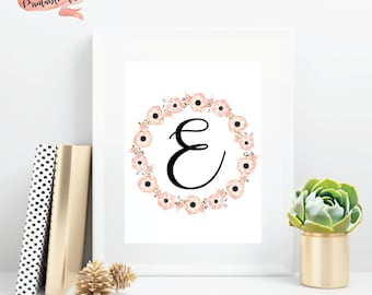 Pink Floral Letter Download File for Printing, Watercolor Flowers, Nursery Decor, Little Girl Bedroom, Wall Decor