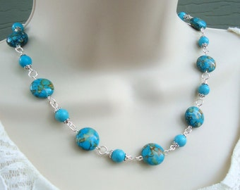 Mosaic Turquoise Stone Strand Necklace.Beaded.Silver.Gold.Statement.Blue.Choker.Mother's.Bridal.Birthday.Gift.Holiday.Summer.Handmade.