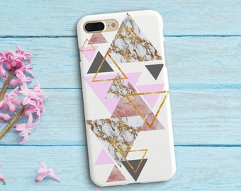 Pink White Marble Case iPhone 7 Plus Angular Case iPhone 7 8 Plastic Case Geometric iPhone X Marble S Galaxy S6 S7  Simple Case Triangle