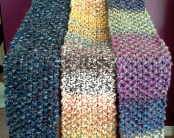 Seed Stitch Scarf - Bulky scarf women's kids kid's knitted handknit long scarf