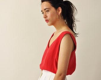 Silk Tank Top, Matte Silk Blouse, Vintage 90s Minimal Top, Simple Red Tank Top, Oversized Tank Top, Loose Fit Silk Blouse