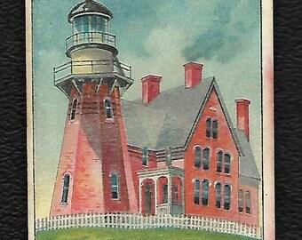 Light House Tobacco Card Block Island R.I. Circa 1910
