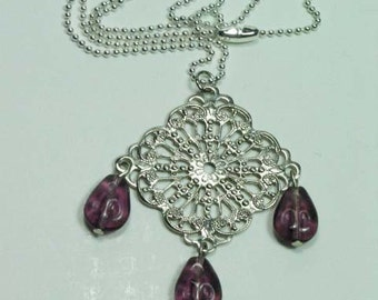 Filigree and Purple Necklace