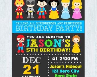 Superhero Princess Invitation, Superhero and Princess Invitation, Superhero and Princess Birthday Invitation, Superhero Princess Party