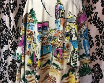 Authentic 50's Handpainted Hispanic Circle Wrap Skirt