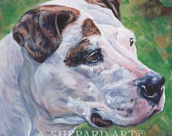 "AMERICAN BULLDOG dog art portrait canvas PRINT of LAShepard painting 8x8"""