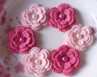 6 Crochet Flowers  In Lt Pink, Bubblemgum Pink  YH-011-16